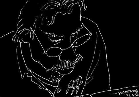 Portrait Klaus Kürvers, gezeichnet von Jonas Geist (1983)