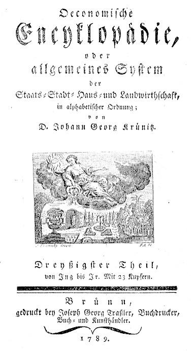 Titelblatt eines Bandes der Encyklopädie von Krünitz